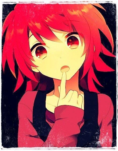 Image de fille manga cheveux rouge