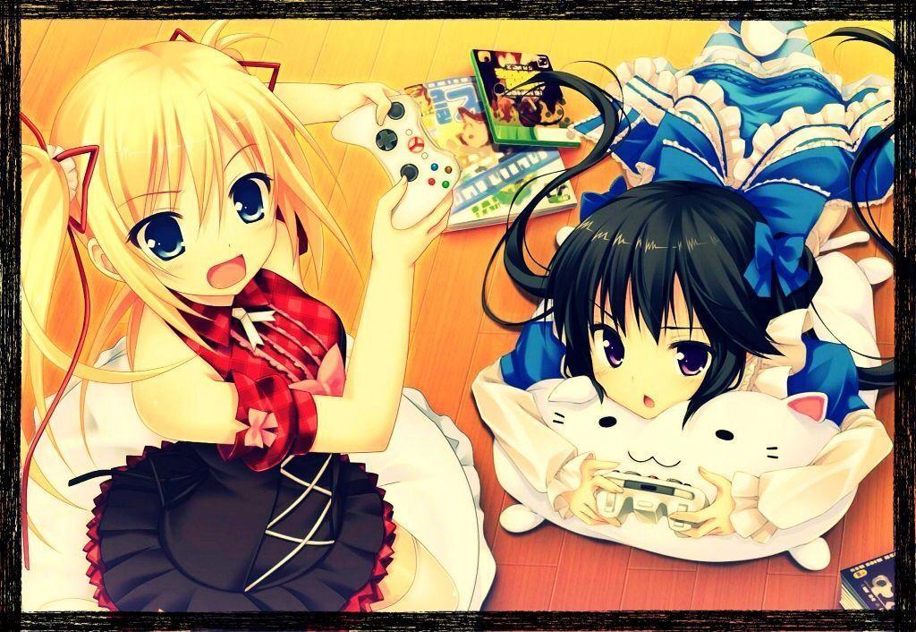 Image manga qui joue au jeux video - Fille joue au foot ...