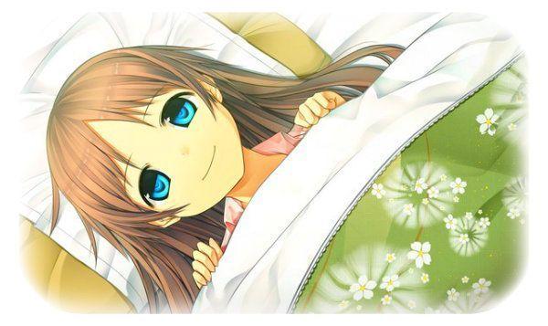 image de fille manga au lit. Black Bedroom Furniture Sets. Home Design Ideas
